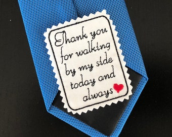 Wedding Tie Patch Father of Bride, Rectangular Patch, Suit Patch, thank you for walking, Embroidered Tie Patch, iron-on option.TPB