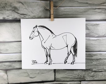 "Horse art original ""Iberian Horse"" pen & ink sketch drawing"