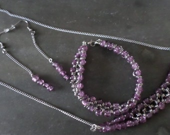 Purple glass bead chain mail set comprising of necklace, bracelet and drop earrings
