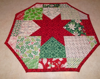Quilted Table Runner Topper Christmas Charms  Star Octagon Shaped Quilted Patchwork Table Topper