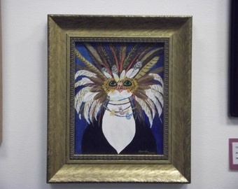 Fat Cat Dressed Up for the Mardis Gras Festivals  Framed 8 X 10 Acrylic Painting