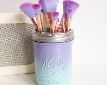 Mermaid / unicorn ombre Kerr mason jar with silver lid - makeup brush holder, vase, desk tidy