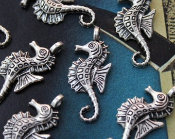 10 Seahorse Charms Sea Horse Pendants Antiqued  Tibetan Silver Tone12 x 25 mm