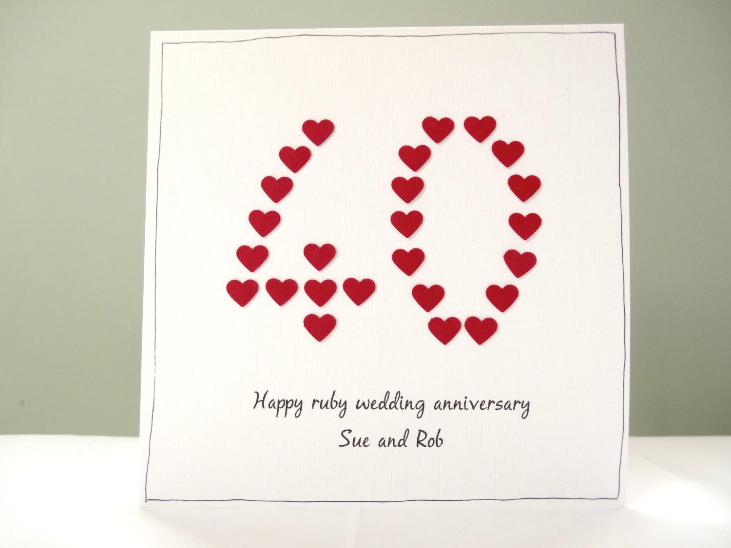Ruby wedding anniversary card personalised anniversary cards
