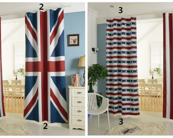Patriotic Curtain Panel, Wall hanging, Backdrop. Light blocking Curtain Flag of USA or flag of United Kingdom - American Flag British Flag