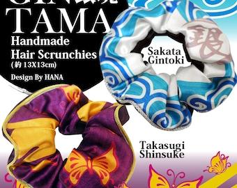 GINTAMA inspired handmade hair scrunchies Sakata Gintoki Takasugi Shinsuke 銀魂 シュシュ ( 同人 グッズ )