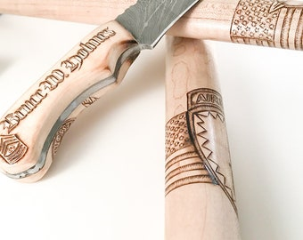 Custom Wood Burn, Commission, Pyrography, Pyrography Art, Wood burning - Knives, Handles, Walking Sticks / ARTWORK ONLY