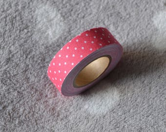 3 m 50 Masking tape pink polka dot cotton