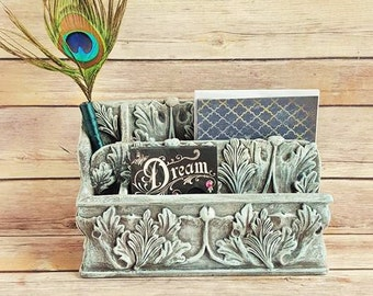 Office Organizer | Caddy Catchall | Antique White Acanthus Leaves | French Country Farmhouse | Vintage Up-Cyceled | Eco-Friendly