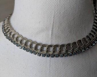Baby Blue Rhinestone & Silver Loop Necklace