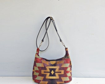 Southwestern Bag in Purple with Custom Leather Strap, Aztec Crossbody Hobo Bag, Boho Zippered Purse, Tribal Pattern Large Shoulder Bag