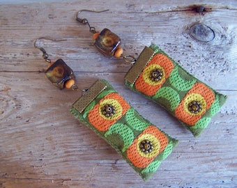 Beautiful textile earrings vintage