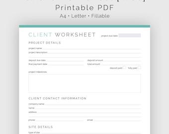 Client Worksheet Web Design - Fillable - Printable PDF - Web Design Business - Business Planner - Instant Download