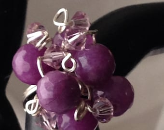 BR1717 Bling Ring, grape colored stones,  and crystals, wrapped in silver wire, size 7