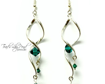 Silver Spiral Earrings | Twisted Earrings | Helix Twist Earrings | Green Twist Earrings | Ear Rings | Gifts for Mom | Free Shipping