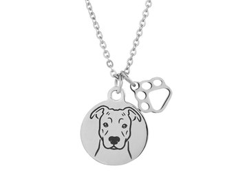 Pit Bull Dog Charm Necklace, Stainless Steel Pit Bull Necklace, Pit Bull Jewelry, Pit Bull Gift, Pit Bull Natural Ears, Pitbull Gift