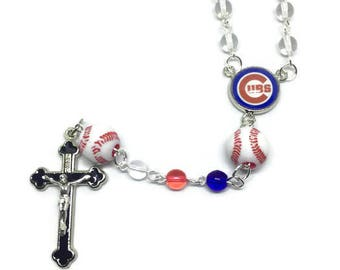 Chicago Cubs Rosary, Baseball Rosary, Sports Rosary, Crucifix Cross Pendant, Silver Rosary, Silver Cross Necklace, Silver Rosary Necklace