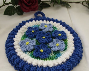 Forget-Me-Not Potholder/Trivet/Hot Mat Blue or Purple Double Thickness Cotton Yarn