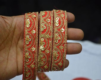 Red Saree Border Fabric trims and embellishments Indian Laces Trims Decorative Embroidered Trim By 2 Yard Sari Borders Crafting ribbon