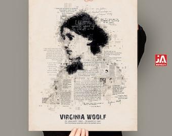 Virginia Woolf, Literary poster, Newspaper portrait, Virginia woolf quotes, Large literary poster, Large printable, Literary wall art, A2