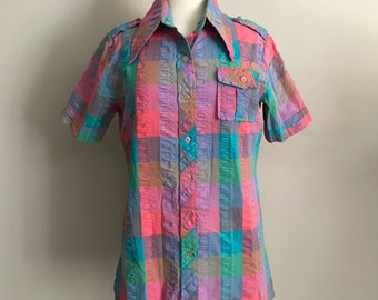 60s Spring Plaid Butterfly Collar Button Up Blouse