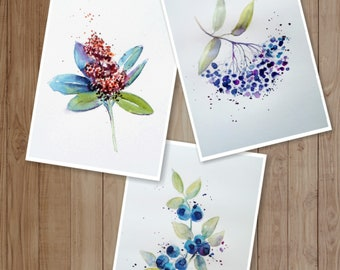 Watercolor, Blueberry set 3 fine art print on high quality Watercolor paper
