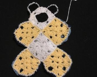 Baby's First Flat Comfort Teddy Bear Yellow/Multi Blues/White,Lovey,Bear Lovey,Crochet Flat Bear,LoveyToy,SecurityBlanket,Crochet Bear Lovey