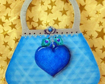Sweet Sixteen Ornament - Cool Blue Purse Ornament - Sweet 16 Gift - Hand Painted Ornament
