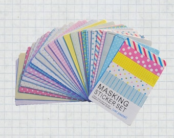27 Sheets Masking Sticker Set - Paper Stickers - Deco Stickers - pastel version