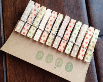 "Mini Clothespins ""Holiday Dots"" - Set of 12 Handstamped Clothes Pins"