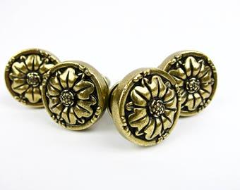 Cabinet Drawer Knob Pull Brass Flower Set of 4 Amerock Natural Elegance 1336