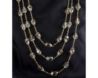 "Champagne Briolette Stations Chain Necklace, 62"" Long"