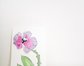 Original painting of a pink orchid