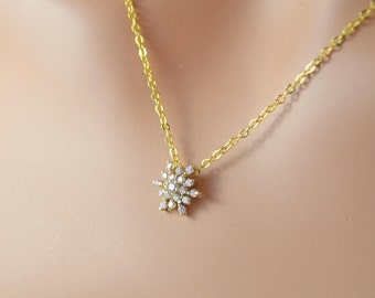 Crystal Snowflake Necklace, Gold Plated Chain, CZ Cubic Zirconia Pendant, Winter Wedding Jewelry