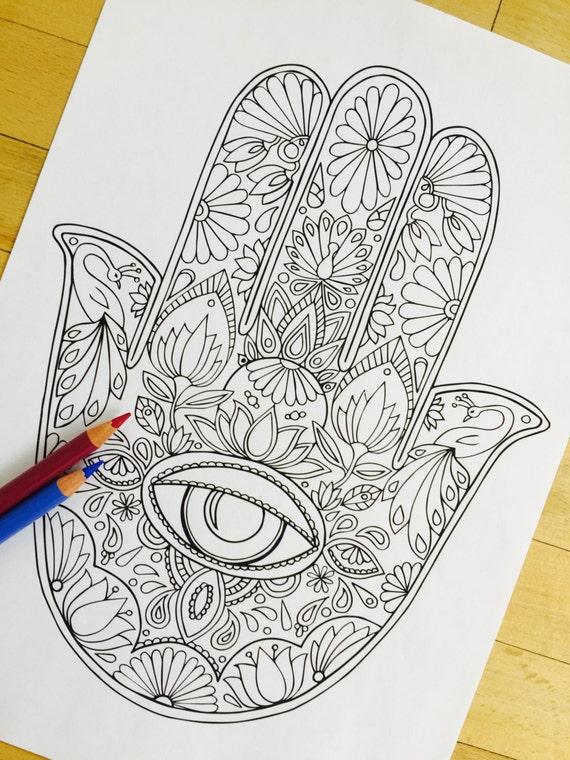 Hamsa Eye Hand Drawn Adult Coloring Page Print