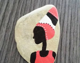 """African"" hand painted Pebble"