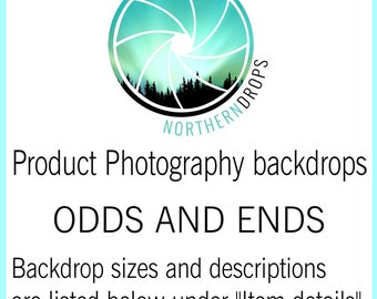 Small Product Photography Backdrop ODDS AND ENDS - 1 of a kind odd sizes and/or colors - Descriptions are listed under item details