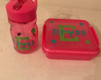 Personalized sandwich boxes and water bottle for school , work or any occasion or outing
