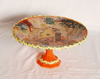 Decoupage 10 Inch Cake Plate/Decorative Plate/Cake Stand/Dessert Stand