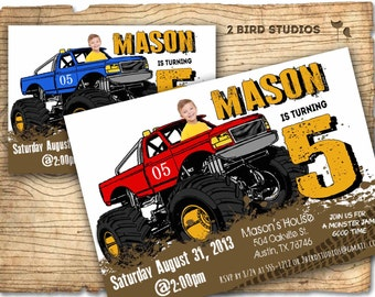 Monster truck invitation - Monster truck party invite - DIY boys birthday invitation