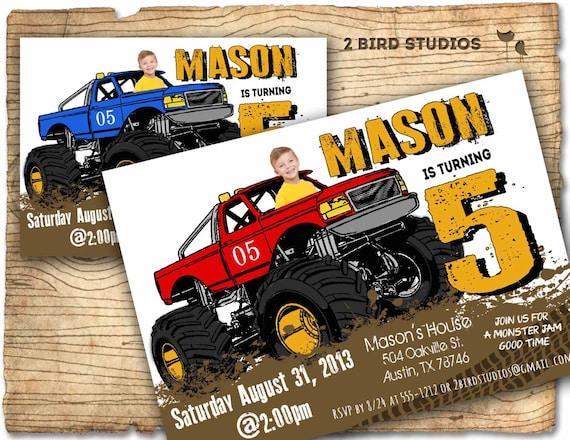 Monster Truck Invitation Monster Truck Party Invite Diy