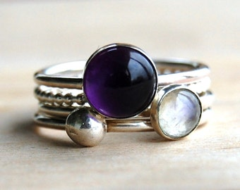 Stacking Rings | Moonstone Ring | Amethyst Ring | Amethyst Stacking Ring | June Birthstone | February Birthstone | Mothers Rings