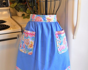 Old Fashioned Vintage Style Half Apron in Blue with Floral Trim