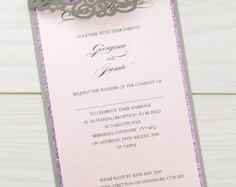 SAMPLE * Ruby Glitter Laser Cut Wedding Evening Invitation. Ruby Range