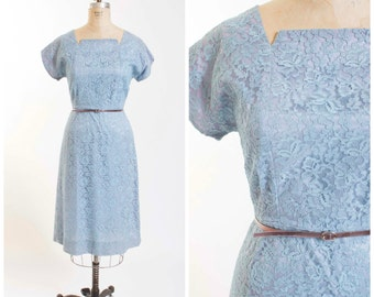 50s Vintage Dress Pastel Blue Lace Vintage 1950s Sheath Dress with Short Sleeves Size Medium