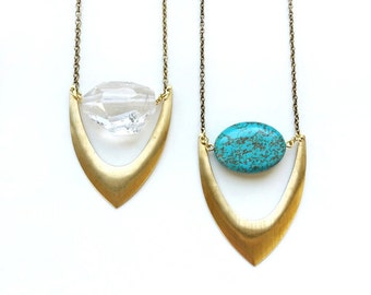 Crystal Quartz / Turquoise Raw Brass V Necklace, Rock Crystal Nugget, Tabular Turquoise Bead, Choose your style