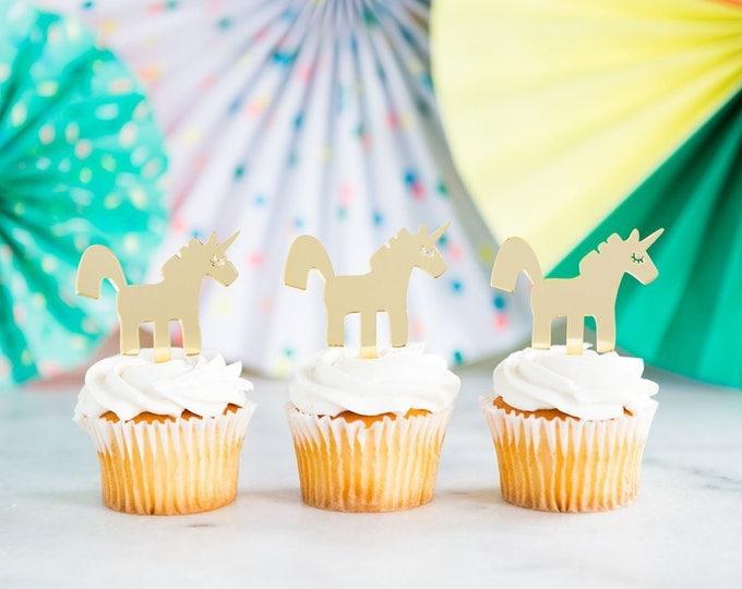 Unicorn Cupcake Topper, 8 Gold Acrylic Unicorn Cupcake Toppers, Reusable Unicorn Decor, Birthday Cupcake Decoration, Unicorn Party