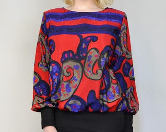 Jamboree Vintage 1980s Abstract Funky Medium Size 10 Lightweight Pullover Long Sleeve Top Blouse