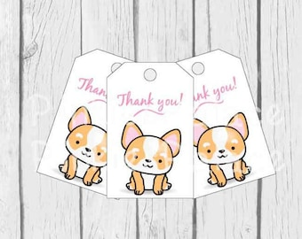 Corgi Tags Birthday Favor Gift Thank You Tags Wrapping Package Labels T636