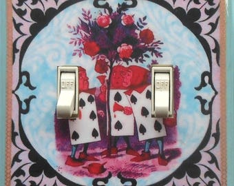 10 Alice SETS- Through the Looking Glass Double plates & MATCHING SCREWS and outlets We're all mad here Alice in Wonderland switch covers